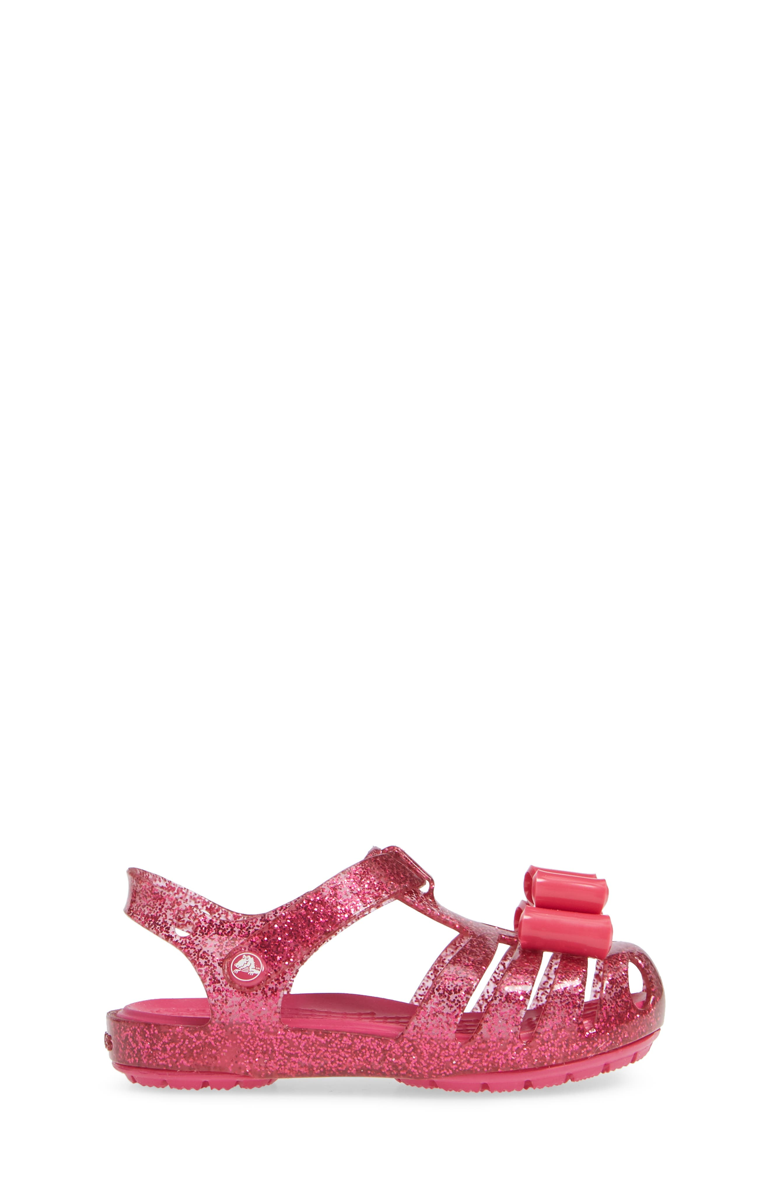 Isabella Bow Glitter Fisherman Sandal,                             Alternate thumbnail 3, color,                             Candy Pink