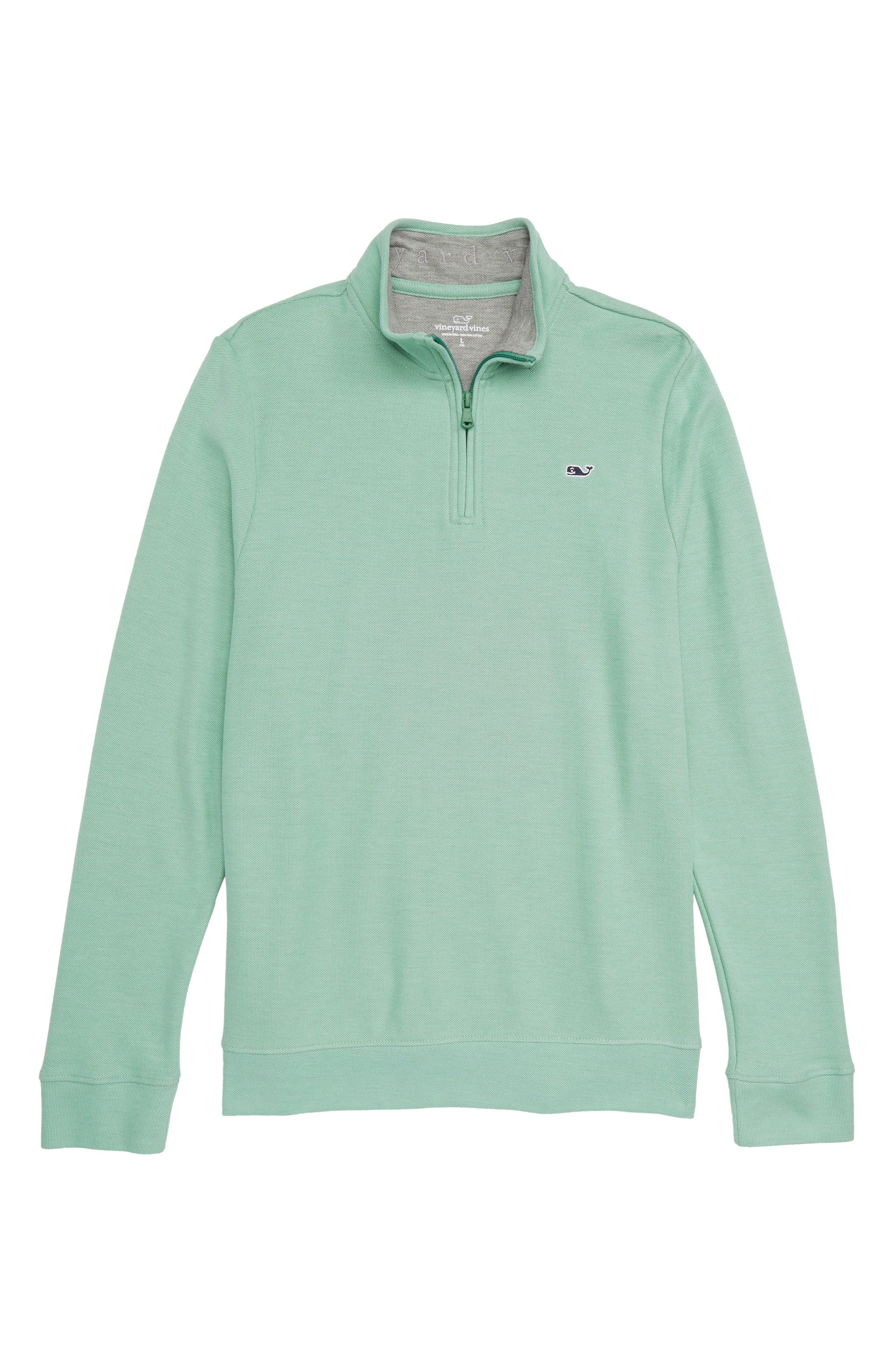 Quarter Zip Pullover,                         Main,                         color, Starboard Green