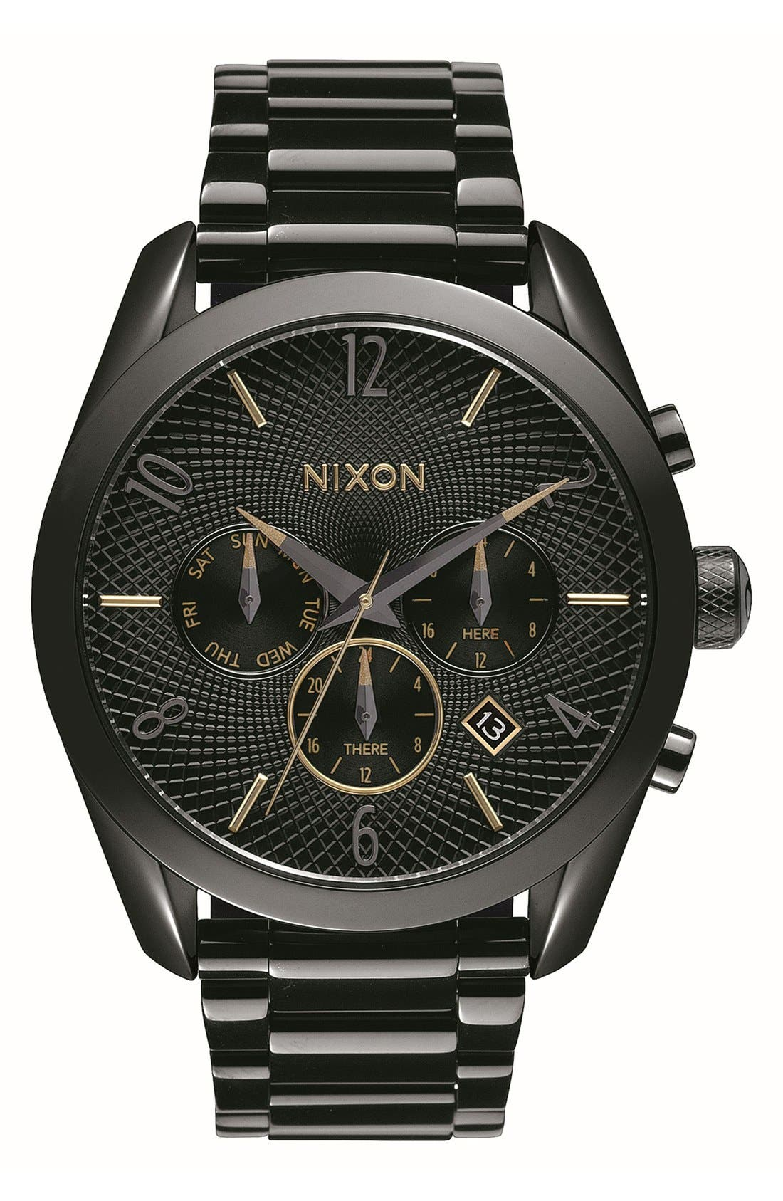 Alternate Image 1 Selected - Nixon 'Bullet' Guilloche Chronograph Bracelet Watch, 42mm