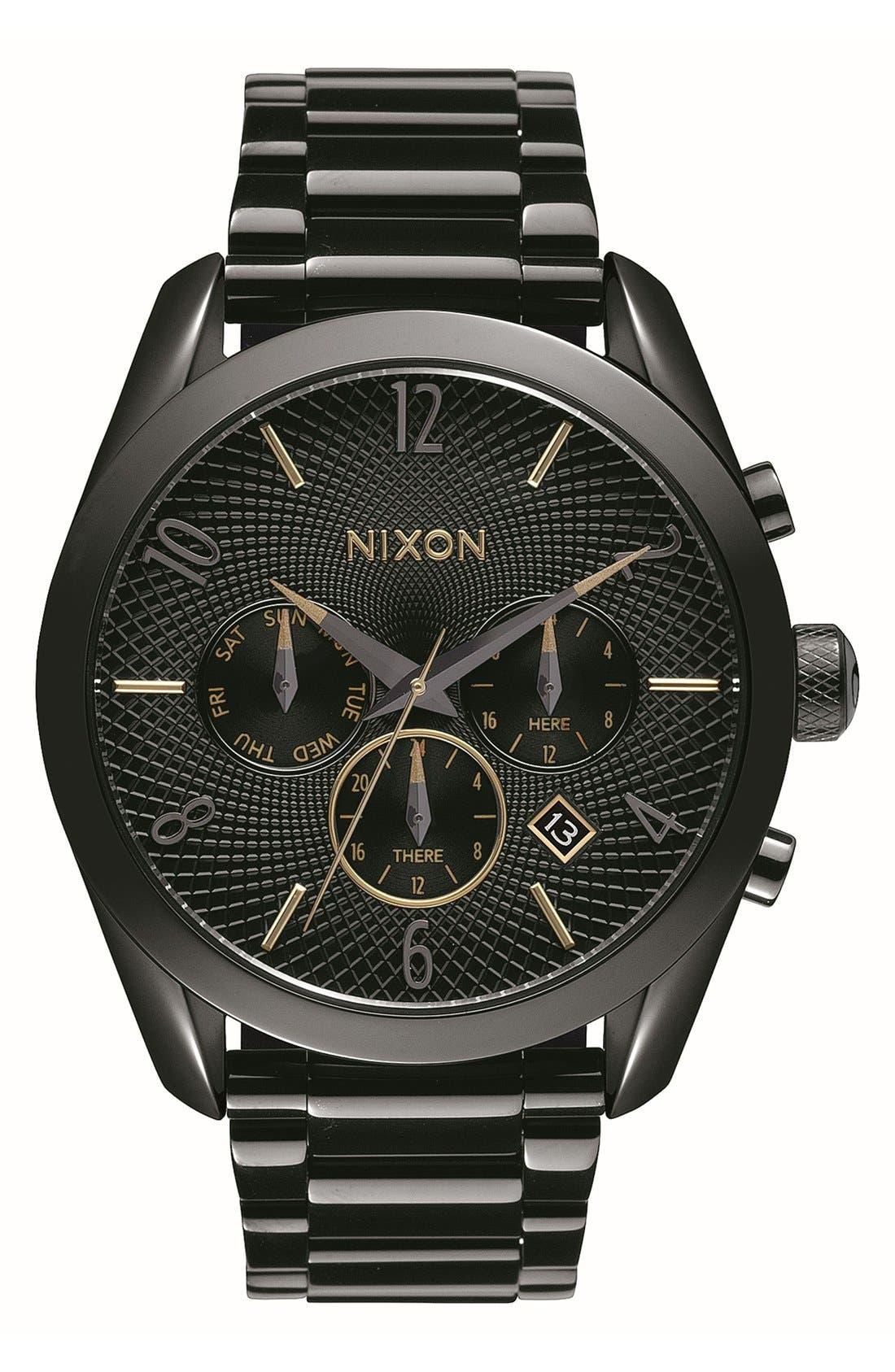 'Bullet' Guilloche Chronograph Bracelet Watch, 42mm,                         Main,                         color, Black