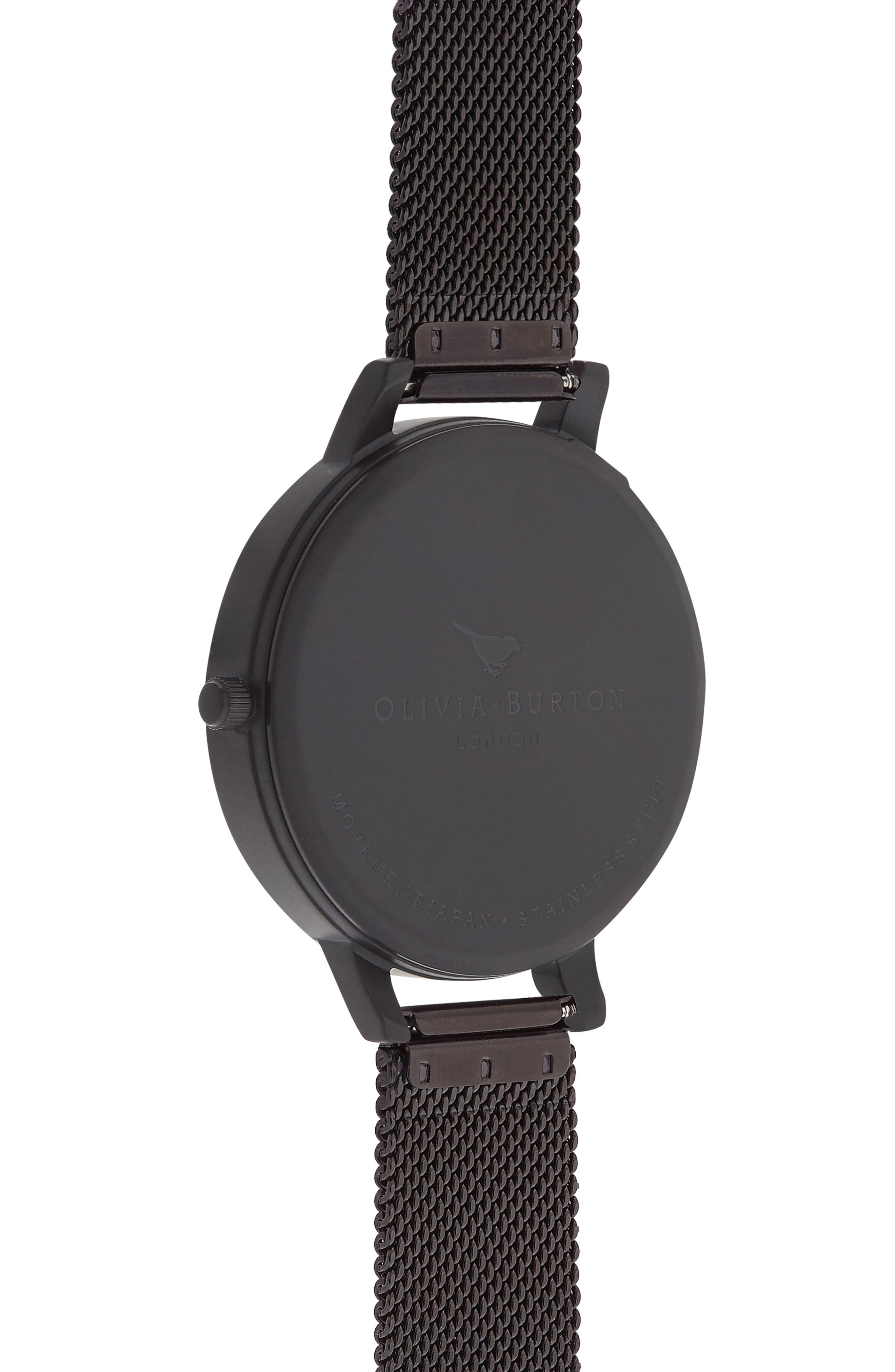 After Dark Mesh Strap Watch, 38mm,                             Alternate thumbnail 2, color,                             Black/ Floral/ Rose Gold