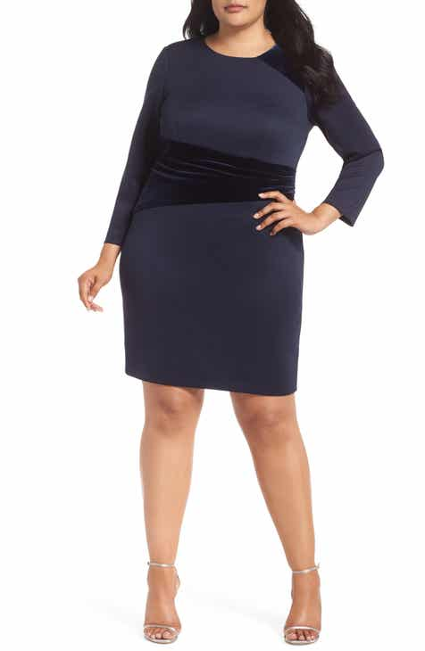 Vince Camuto Contrast Sheath Dress (Plus Size)