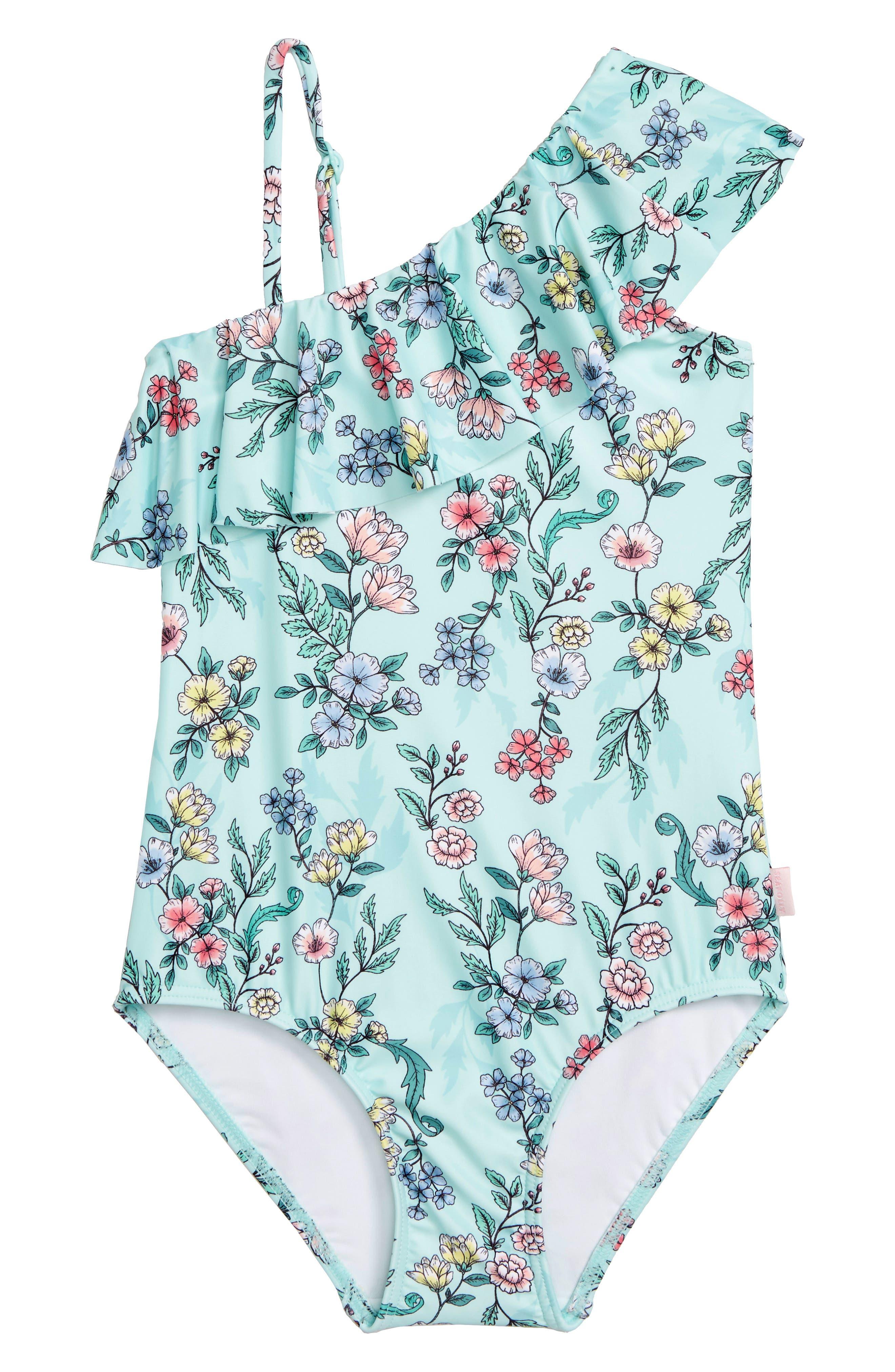 Mystical Garden Ruffle One-Piece Swimsuit,                         Main,                         color, Multi