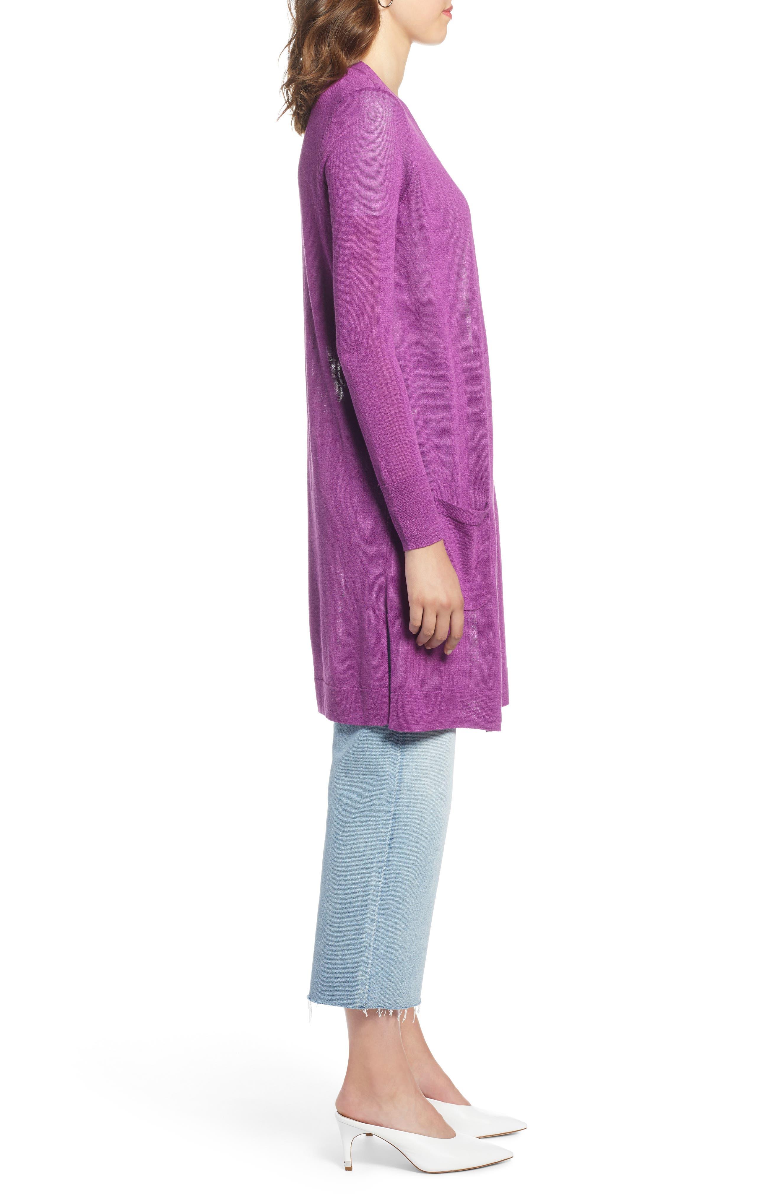 Long Linen Blend Cardigan,                             Alternate thumbnail 6, color,                             Purple Sparkle