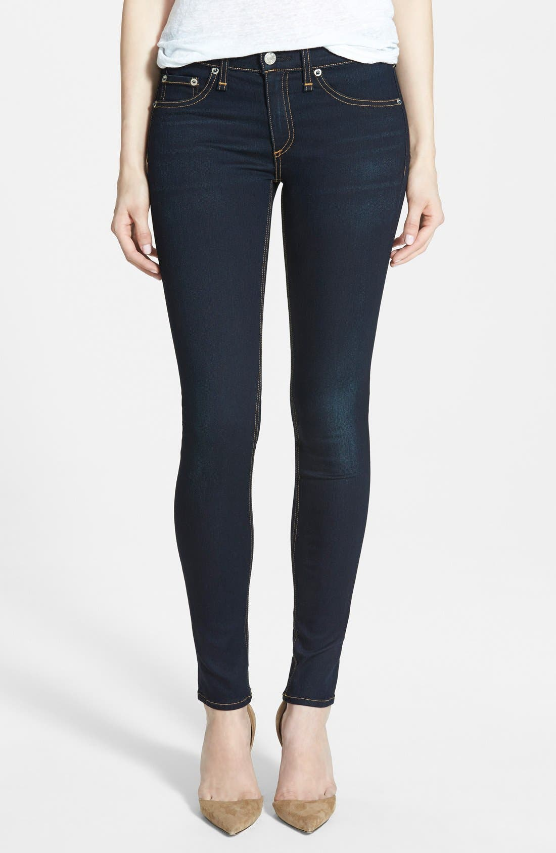 Alternate Image 1 Selected - rag & bone/JEAN 'The Skinny' Mid Rise Jeans (Coventry)