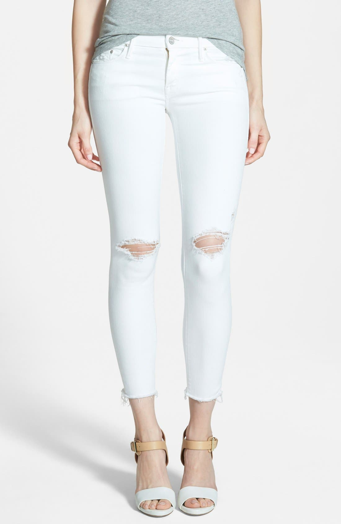 MOTHER 'Looker' Frayed Ankle Crop Jeans (Little Miss Innocent)