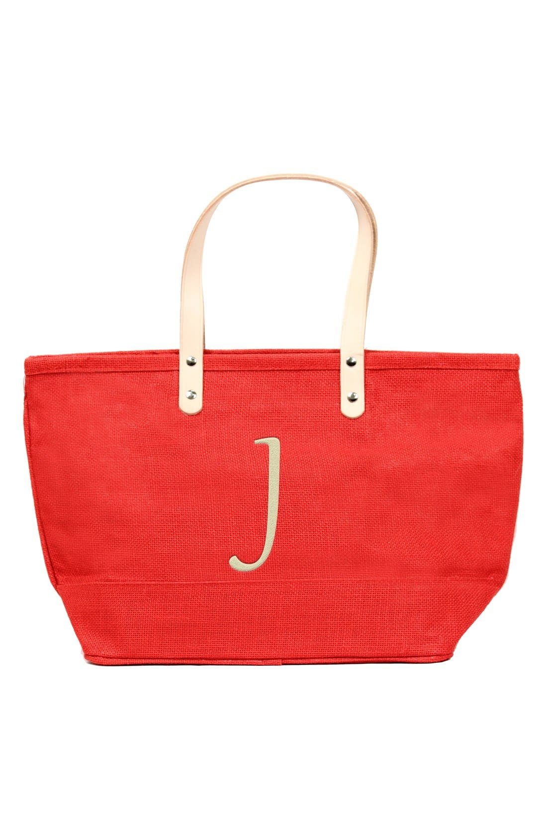 Main Image - Cathy's Concepts 'Nantucket' Monogram Jute Tote