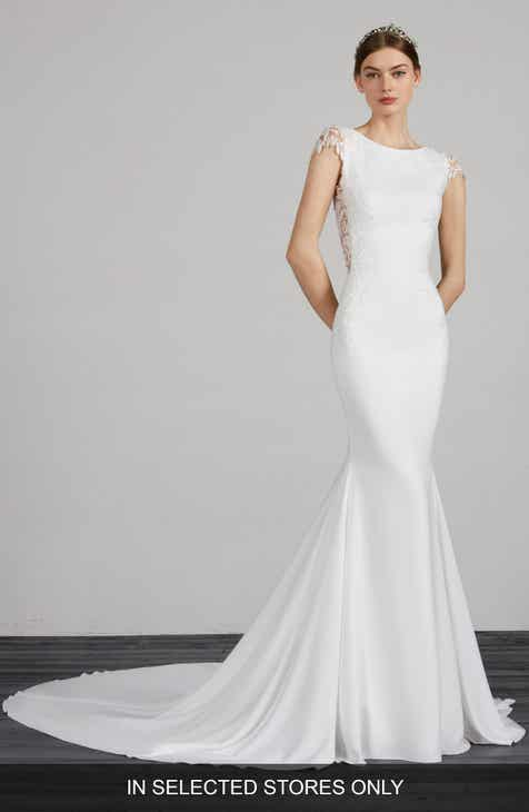 39fe0c4cd46 Pronovias Melva Beaded Crepe Mermaid Gown