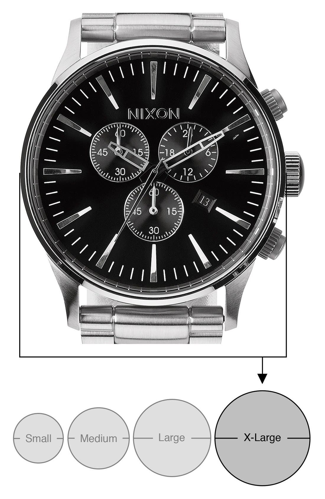 'The Sentry' Chronograph Bracelet Watch, 42mm,                             Alternate thumbnail 5, color,                             Silver/ Black