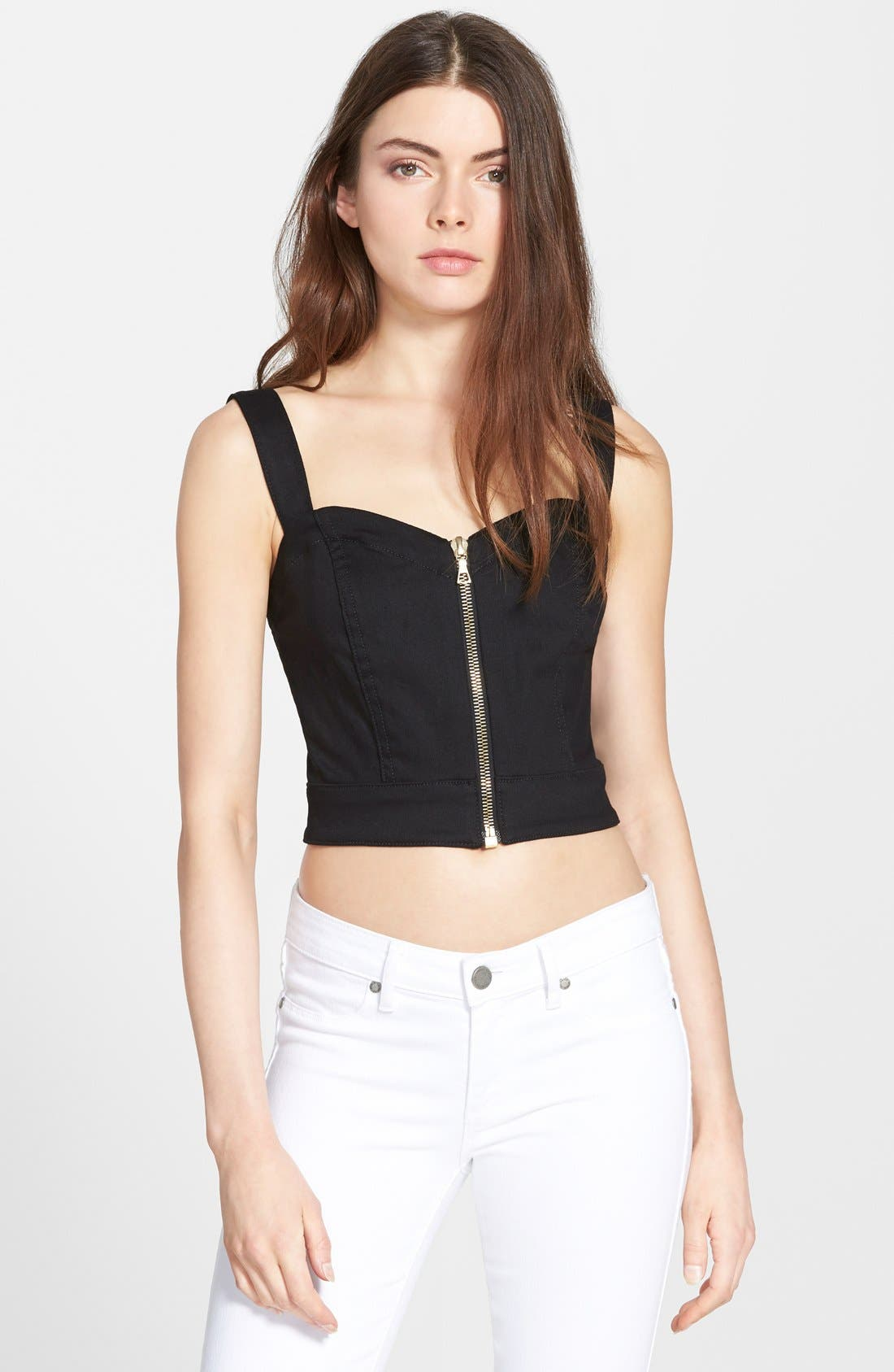 Main Image - 7 For All Mankind® Zip Front Crop Top