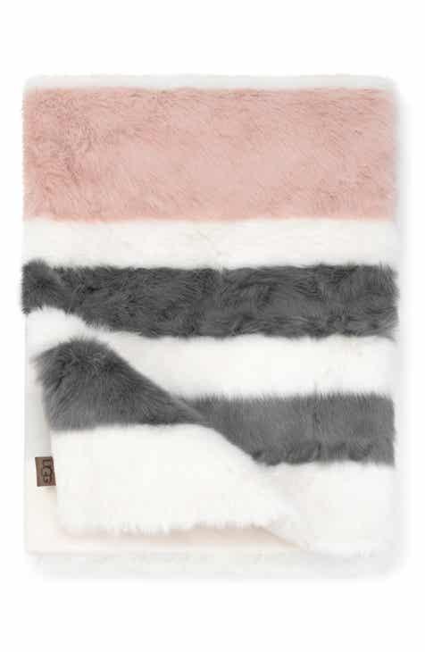 Ugg Royale Surf Stripe Faux Fur Throw Blanket