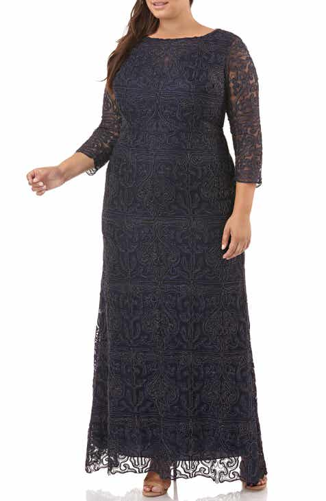 6f2b5f0abb7 JS Collections Metallic Soutache Gown (Plus Size)