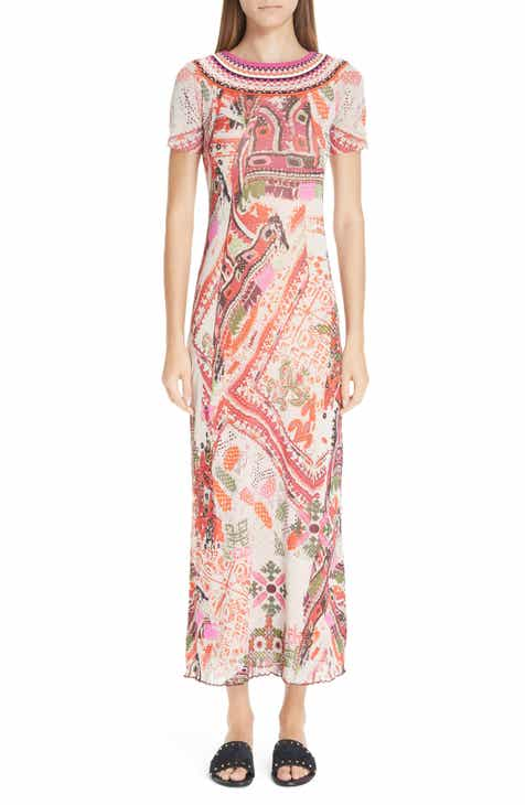 Fuzzi Knit Trim Print Tulle Maxi Dress by FUZZI