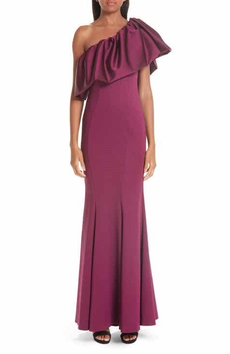 ZAC Zac Posen Vaille One-Shoulder Ruffle Evening Dress by ZAC ZAC POSEN