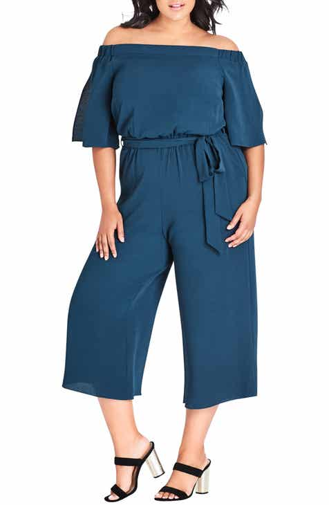 fc24225d27d City Chic Aflutter Off the Shoulder Jumpsuit (Plus Size)