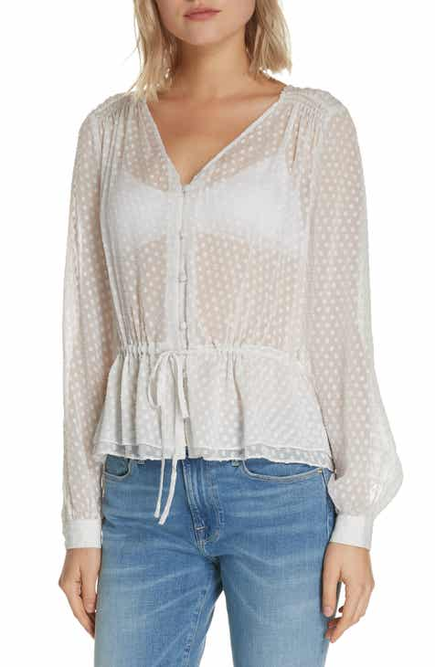 35edaa61eddebf FRAME Polka Dot Silk Blend Blouse (Nordstrom Exclusive)