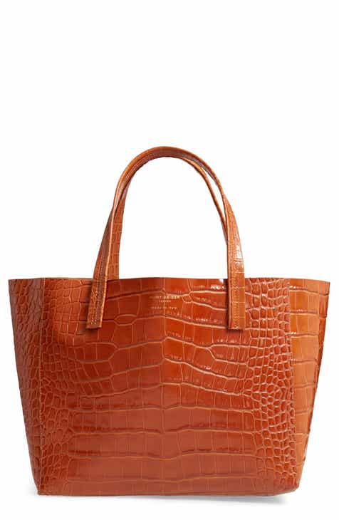 08983129cc Kurt Geiger London Violet Croc Embossed Leather Tote