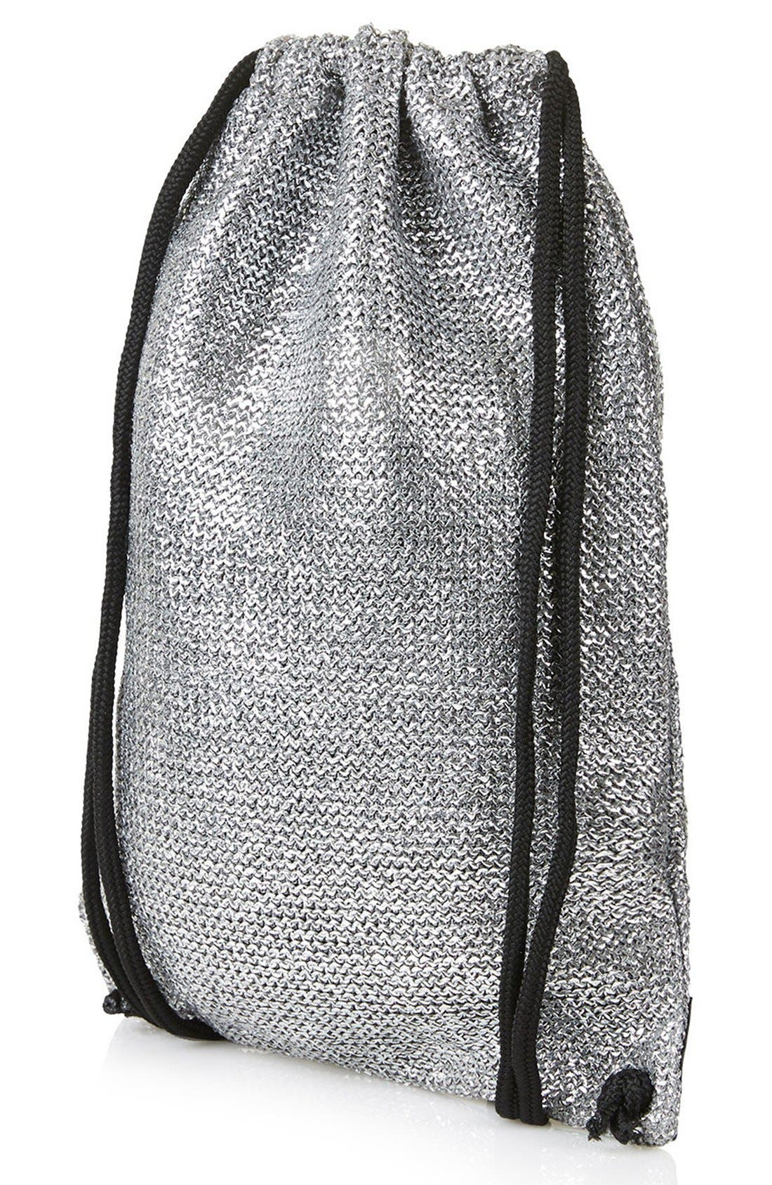 Alternate Image 3  - Topshop 'Metallix' Woven Drawstring Bag