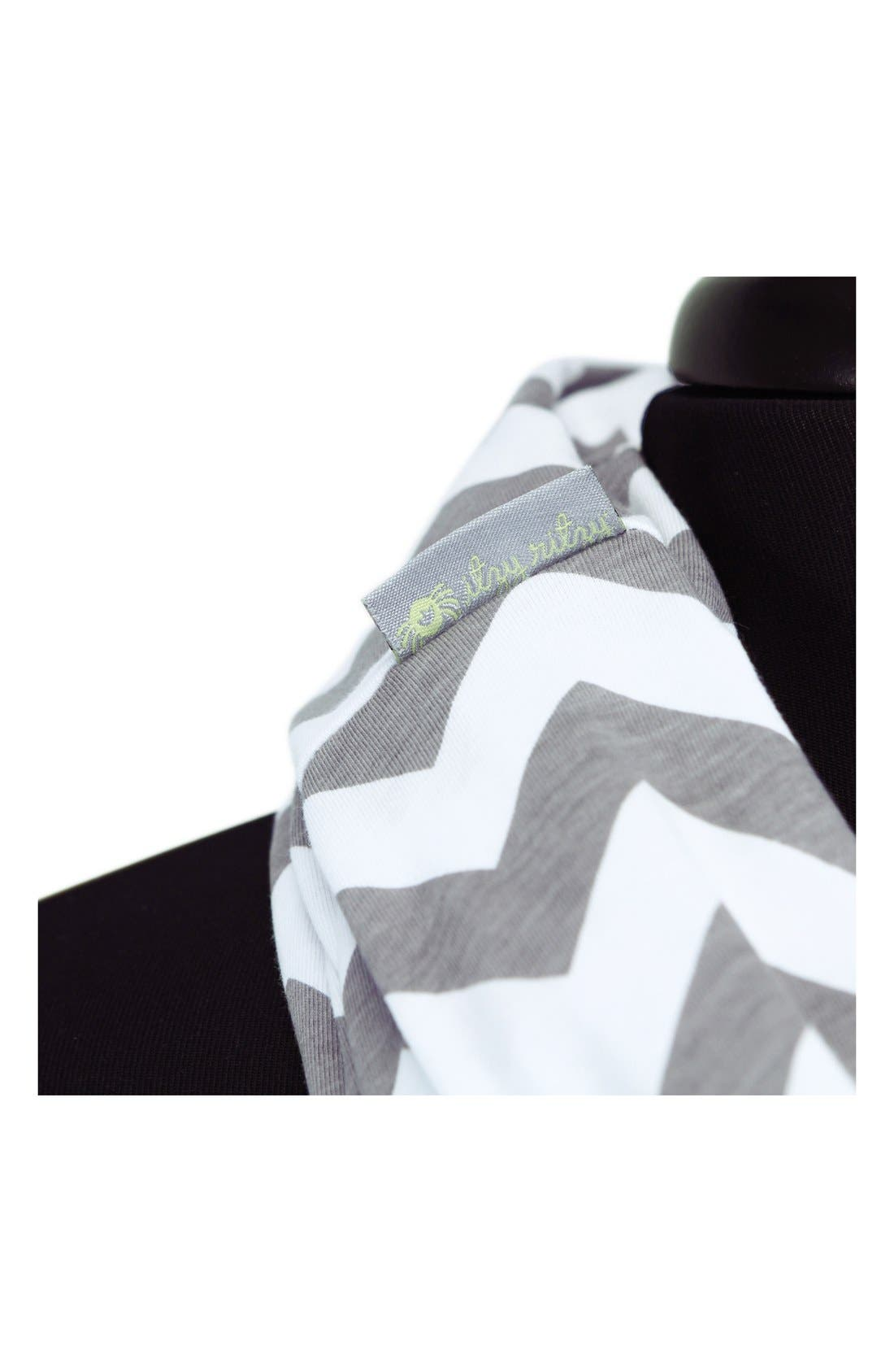 Infinity Nursing Scarf,                             Alternate thumbnail 4, color,                             Grey/ White