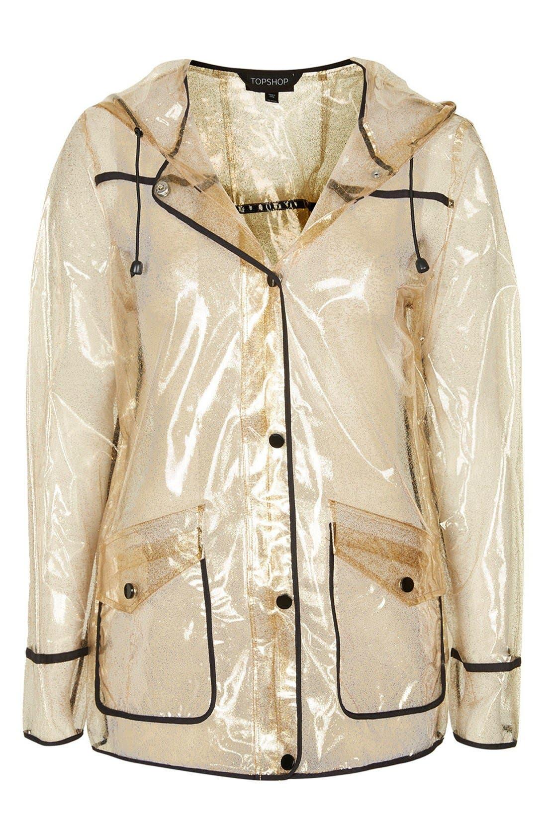 Gold Glitter Transparent Plastic Rain Jacket,                             Alternate thumbnail 3, color,                             Gold