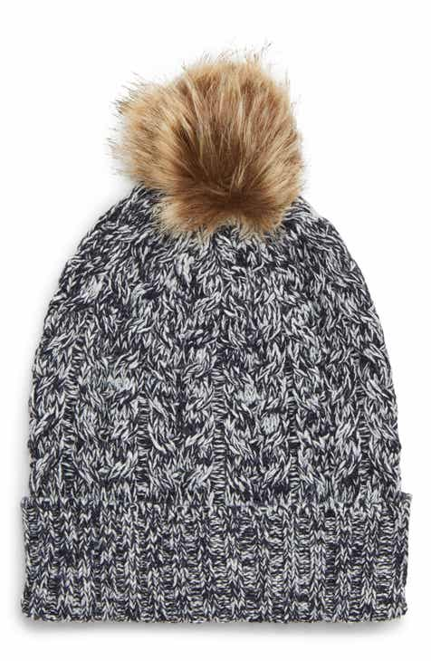 8e54d0e5ae3 Sole Society Cable Knit Beanie with Faux Fur Pom
