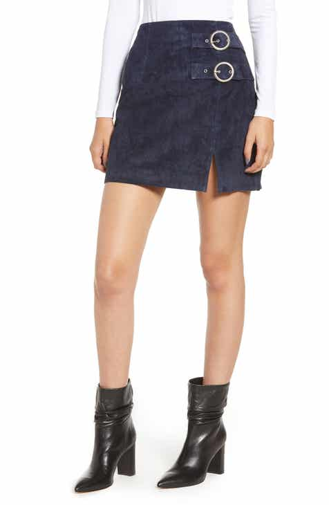 BLANKNYC Double Buckle Suede Skirt by BLANKNYC