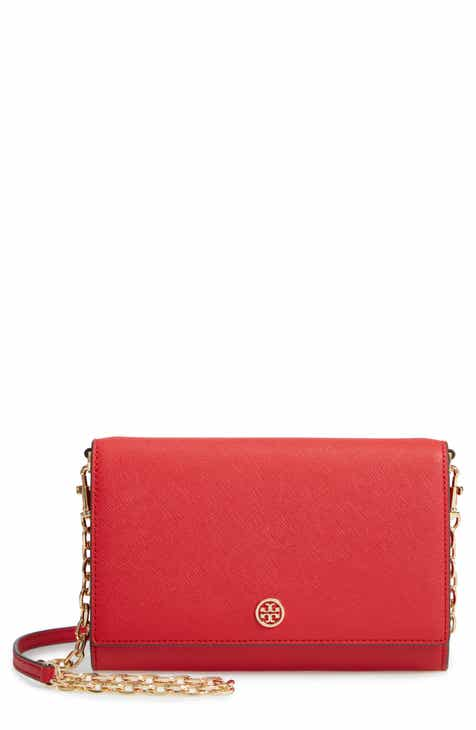 6b3af8f0b45d Tory Burch Robinson Leather Wallet on a Chain