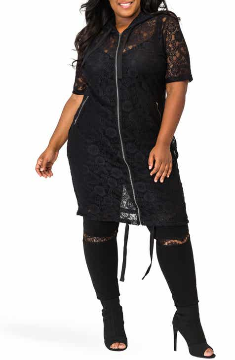 Poetic Justice Kenny Zip-Up Sheer Lace Hooded Jacket (Plus Size)
