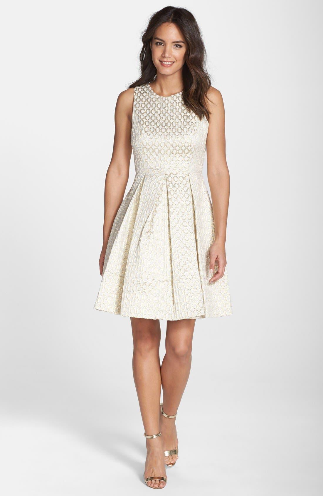 Alternate Image 3  - Eliza J Jacquard Fit & Flare Dress (Regular & Petite)