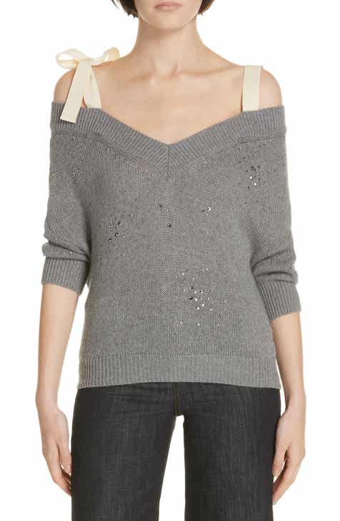 24a5517f888 RED Valentino Studded Bow Shoulder Sweater