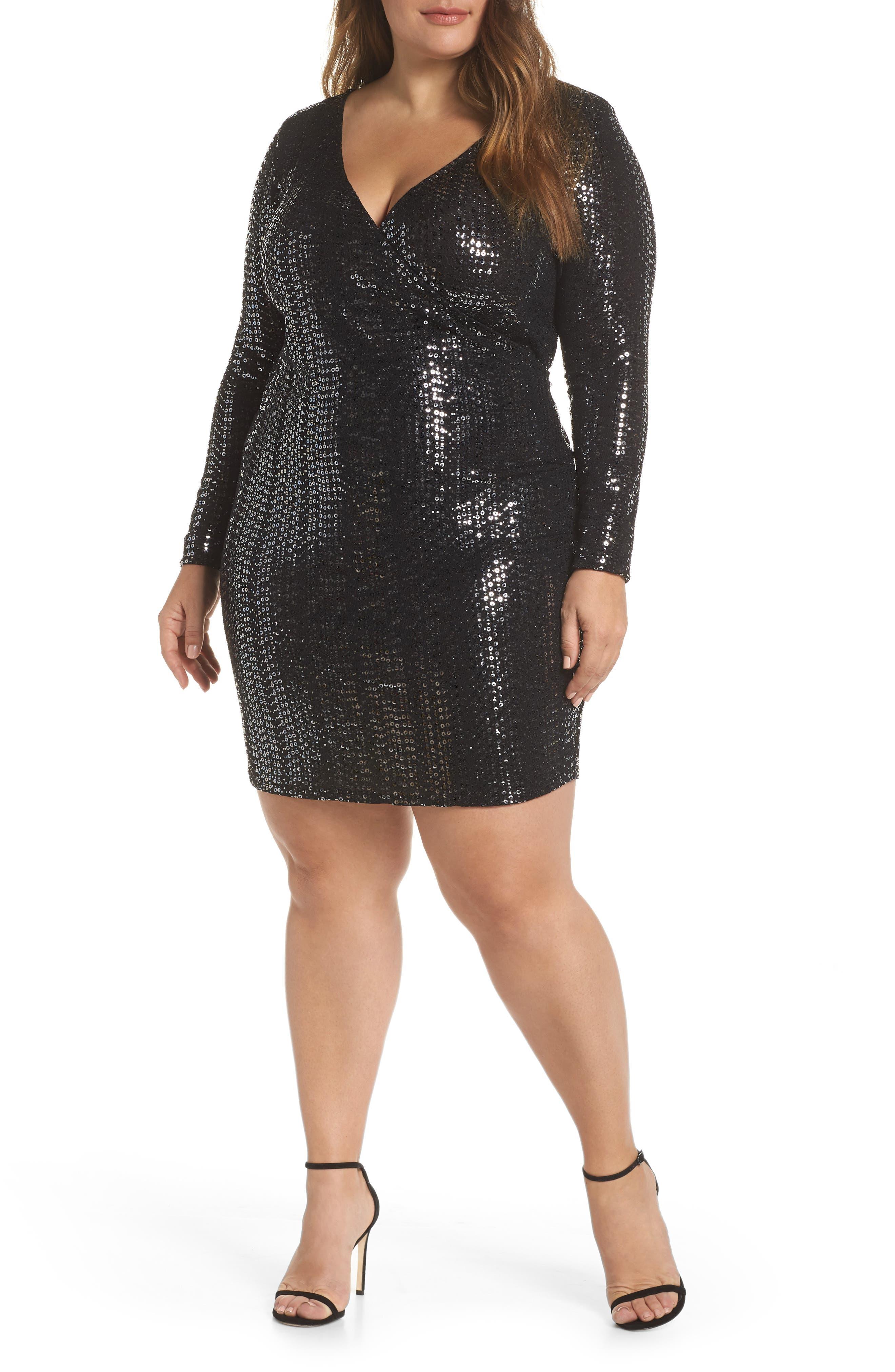 Plus Size Sequin Shift Dress and Black