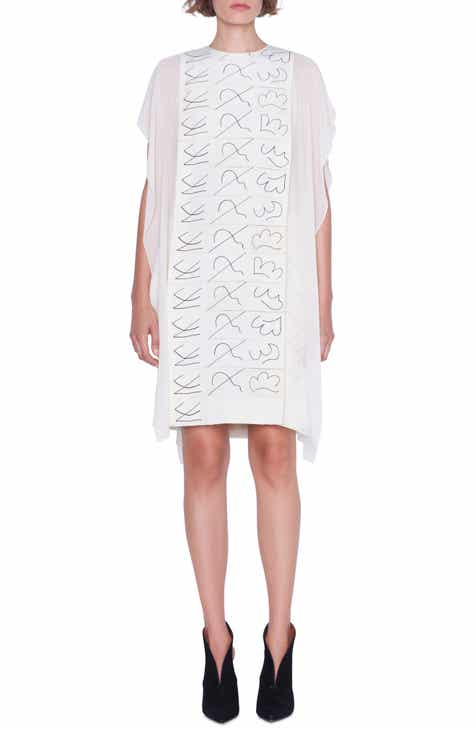 Akris Leporello Print Cold Shoulder Silk Dress