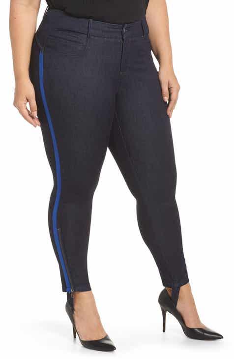 adb17afacf7a YSJ Zip Ankle Stirrup Skinny Jeans (Plus Size)