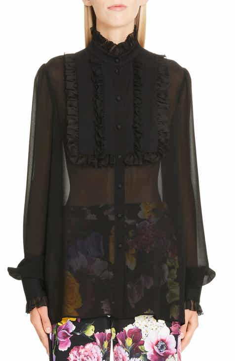 6e86f3e7 Dolce&Gabbana Ruffle Bib Sheer Stretch Silk Blouse