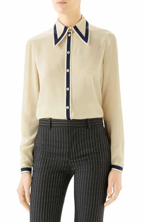 37684c9b26c Gucci Grosgrain Trim Silk Crêpe de Chine Shirt