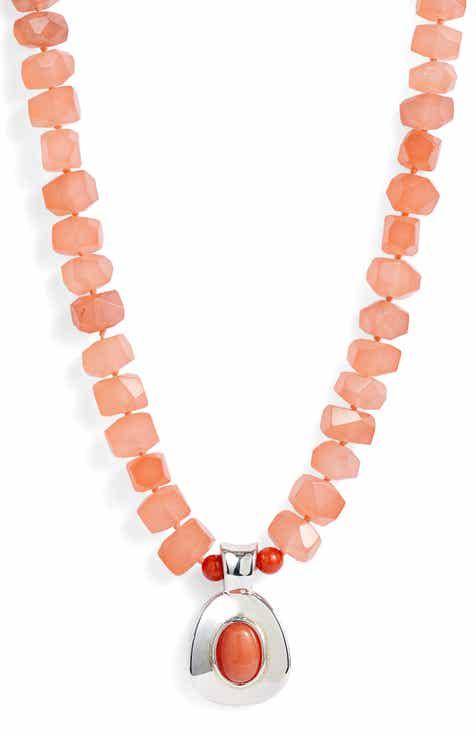 a9be5671a72 Simon Sebbag Stone Bead Pendant Necklace