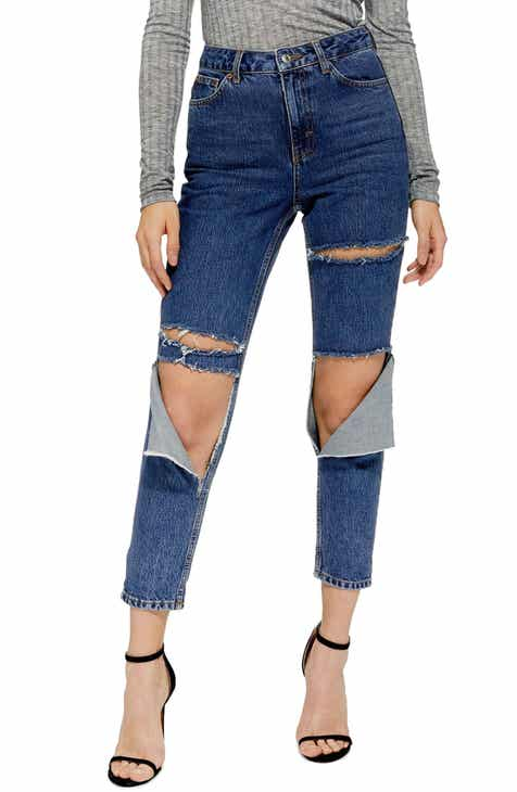 Topshop Slash High Waist Mom Jeans by TOPSHOP