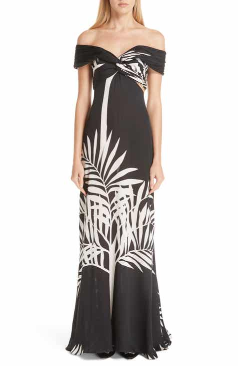 Johanna Ortiz Palm Print Silk Off The Shoulder Maxi Dress