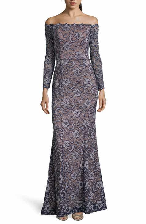 01e94425eca Xscape Off the Shoulder Lace Evening Dress