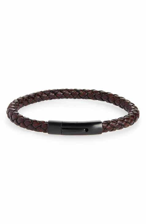 Nordstrom Men S Braided Leather Id Bracelet