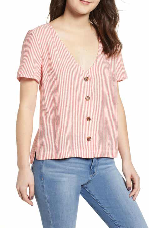 eab691695cdfd Button Front Linen Blend Top (Regular   Plus Size)