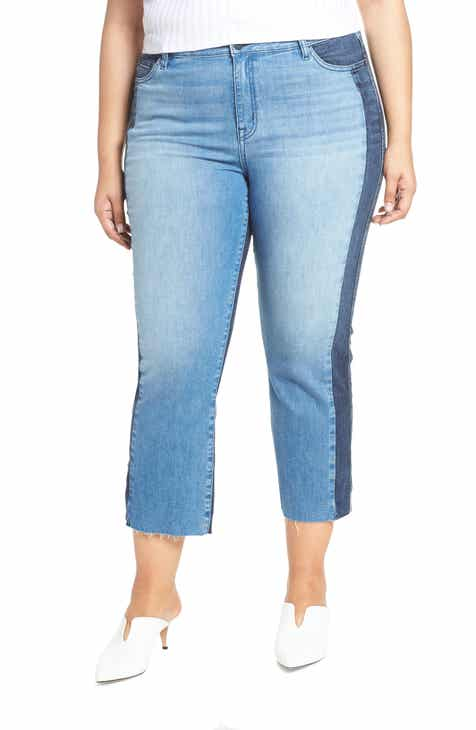 Sanctuary Modern Standard Two Tone Raw Hem Crop Jeans (Noho Arts) (Plus Size) by SANCTUARY