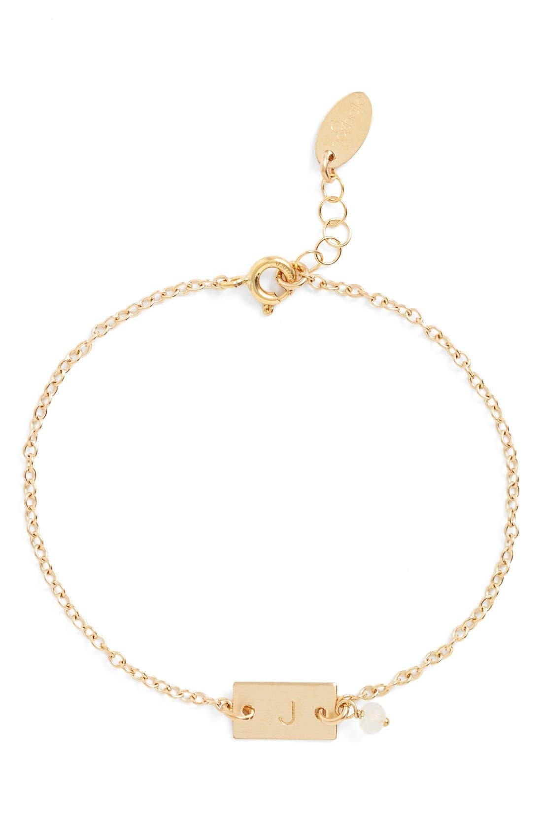 Shaka Initial 14k-Gold Fill Bar Bracelet,                         Main,                         color, 14K Gold Fill J