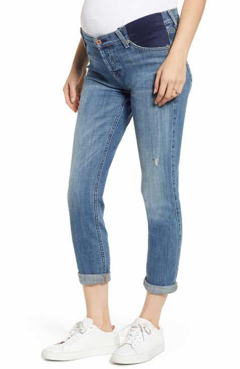 f8d082f4de5 7 For All Mankind® Josefina Crop Boyfriend Maternity Jeans (Bright Light  Broken Twill)