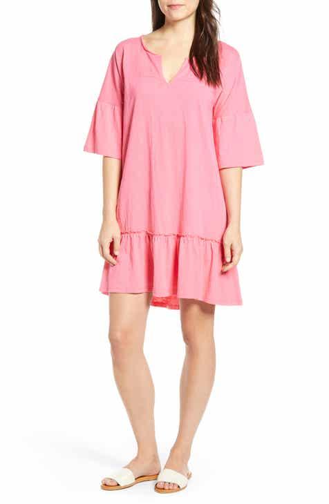 1daddadb6b5 Caslon® Ruffle Sleeve Cotton Dress (Regular   Petite)
