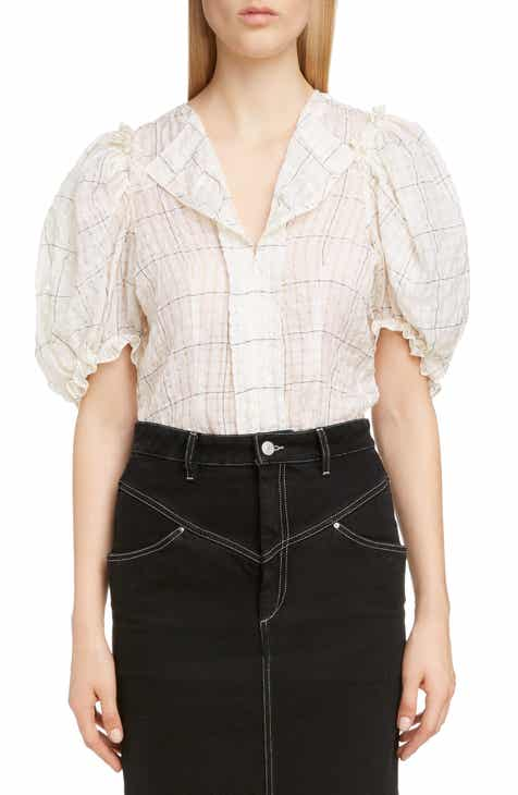 3ce69174ff6c4e Isabel Marant Check Puff Sleeve Top