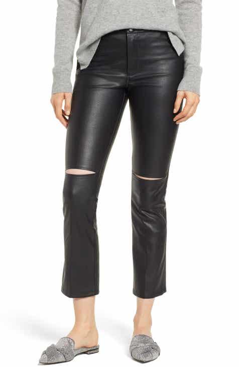 David Lerner Slice Knee Faux Leather Skinny Pants e07cb28da