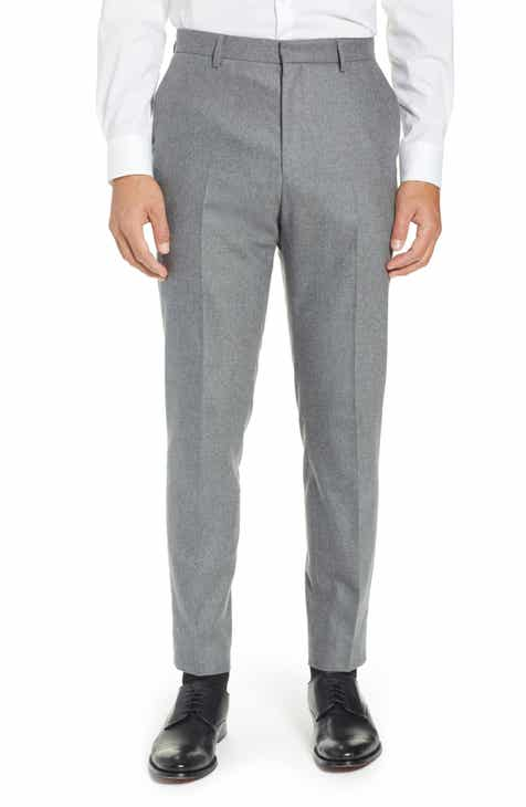 9d372617870 BOSS Pirko Flat Front Slim Fit Solid Stretch Wool Trousers