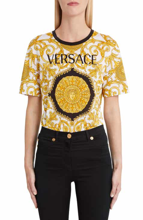 Versace Hibiscus Print Allover Graphic Tee 667cd43079b