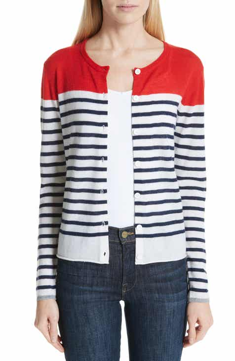 Majestic Filatures Stripe Cashmere Cardigan by MAJESTIC DESIGNER